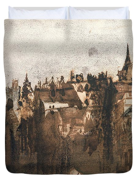 Town With A Broken Bridge Duvet Cover by Victor Hugo