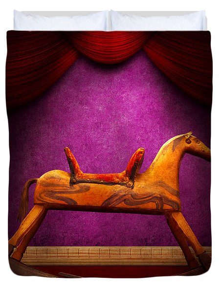 Toy - Hobby horse Duvet Cover by Mike Savad