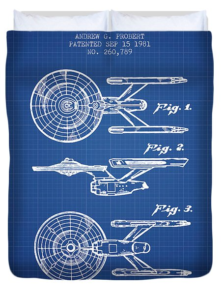 Toy Spaceship Patent From 1981 - Blueprint Duvet Cover by Aged Pixel