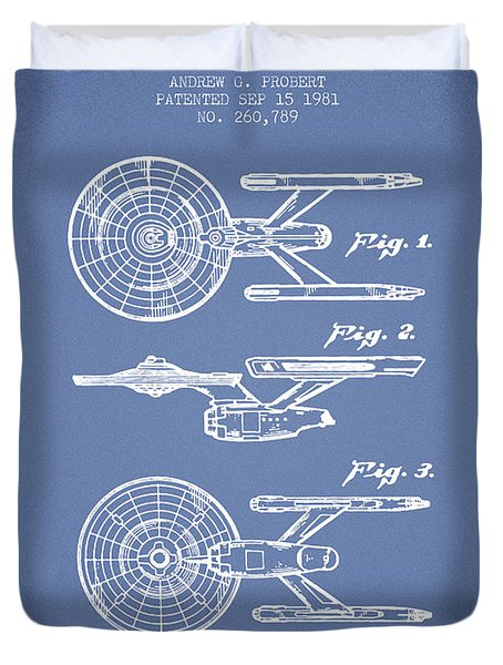Toy Spaceship Patent From 1981 - Light Blue Duvet Cover by Aged Pixel