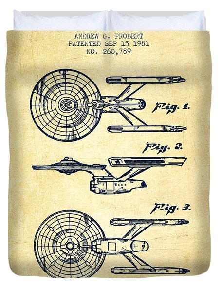Toy Spaceship Patent From 1981 - Vintage Duvet Cover by Aged Pixel