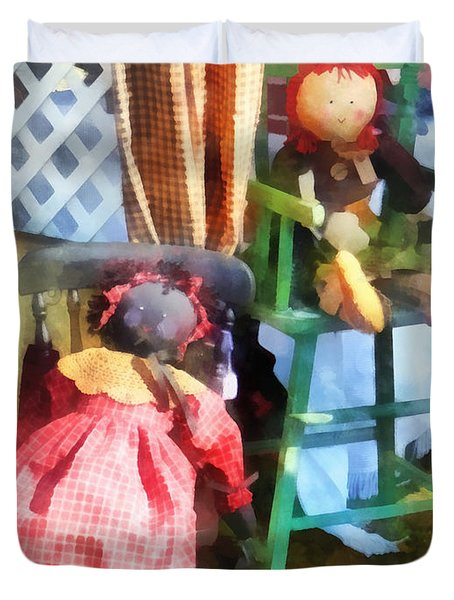 Toys - Two Rag Dolls At Flea Market Duvet Cover by Susan Savad