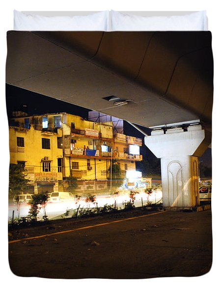 Traffic Running Beneath Flyover Duvet Cover by Sumit Mehndiratta
