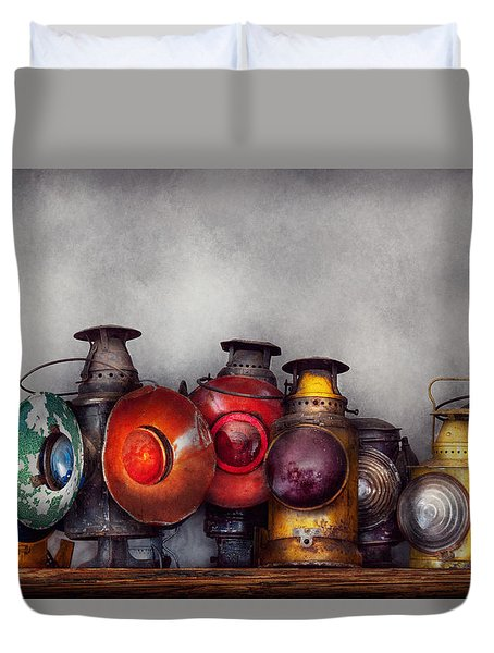 Train - A Collection Of Rail Road Lanterns  Duvet Cover by Mike Savad