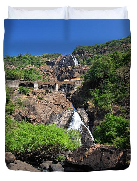 Train Crossing Dudhsagar Falls Duvet Cover by Deborah Benbrook