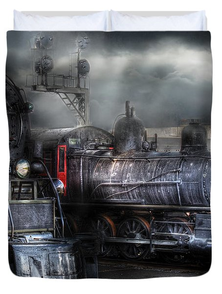 Train - Engine - 1218 - Waiting for Departure Duvet Cover by Mike Savad