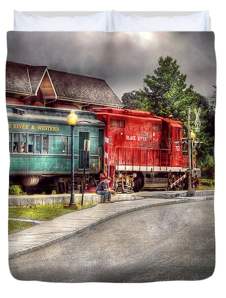 Train - Engine - Black River Western Duvet Cover by Mike Savad