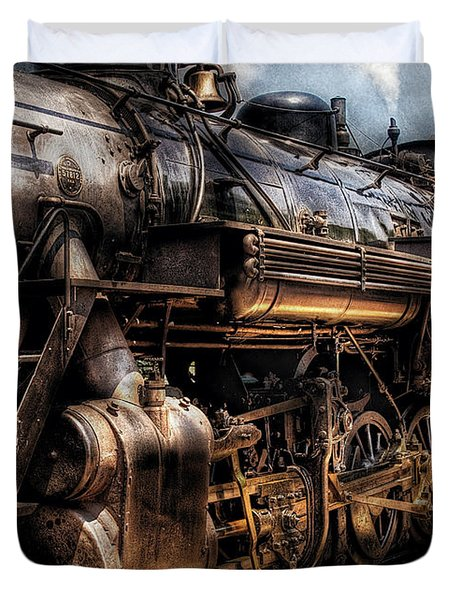 Train - Engine -  Now boarding Duvet Cover by Mike Savad