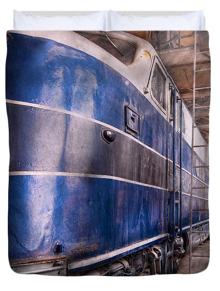 Train - The Maintenance Facility Duvet Cover by Mike Savad