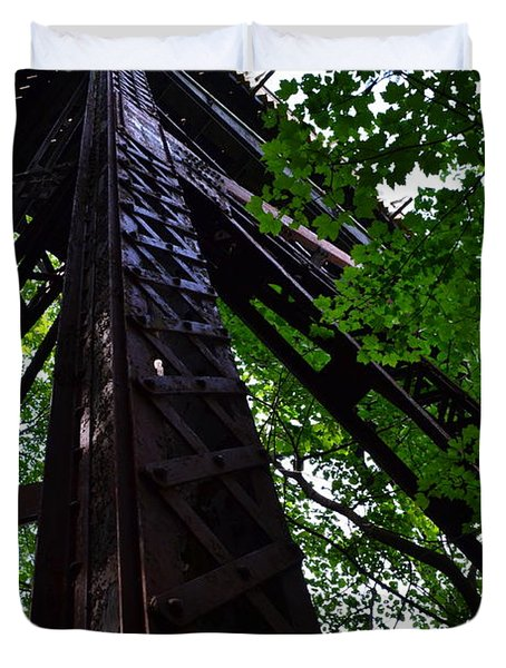 Train Trestle In The Woods Duvet Cover by Michelle Calkins