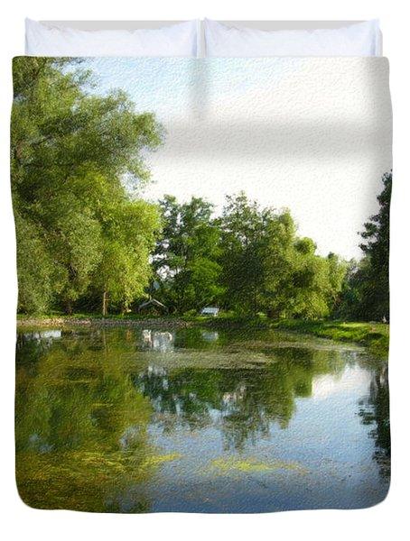 Tranquil - Digital Painting Effect Duvet Cover by Rhonda Barrett