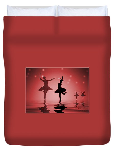 Tranquil Persuasion In Red Duvet Cover by Joyce Dickens