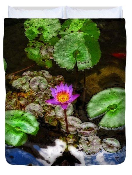 Tranquility - Lotus Flower Koi Pond By Sharon Cummings Duvet Cover by Sharon Cummings