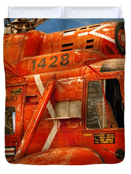 Transportation - Helicopter - Coast guard helicopter Duvet Cover by Mike Savad