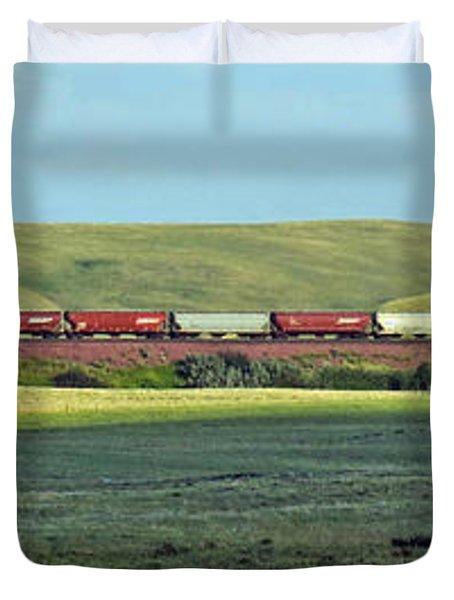 Transportation. Panorama With A Train. Duvet Cover by Ausra Paulauskaite