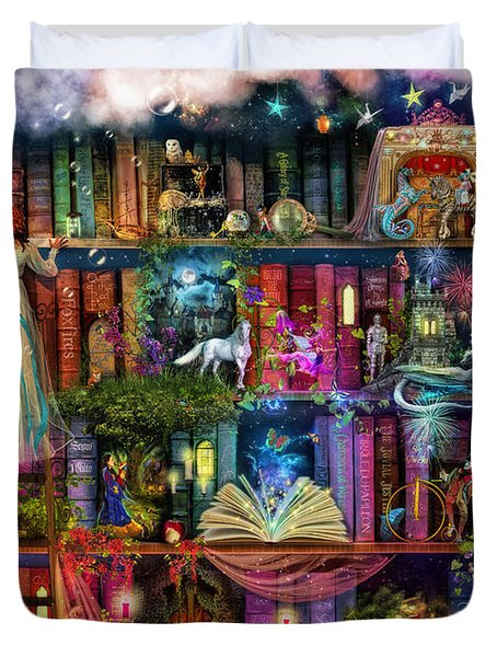 Fairytale Treasure Hunt Book Shelf Duvet Cover by Aimee Stewart
