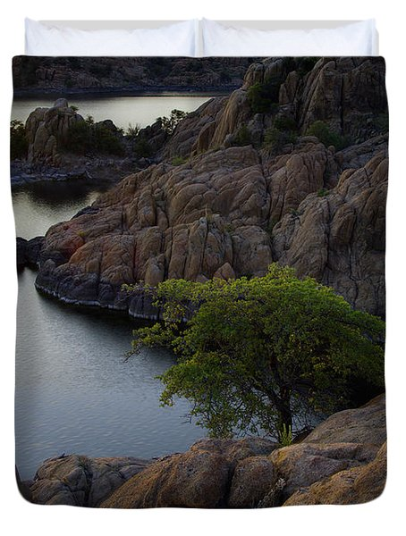 Tree At Sunset At The Granite Dells Arizona Duvet Cover by Dave Dilli