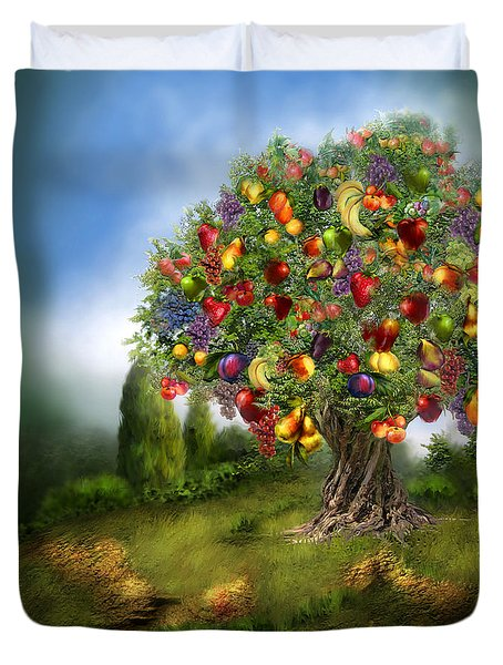 Tree Of Abundance Duvet Cover by Carol Cavalaris