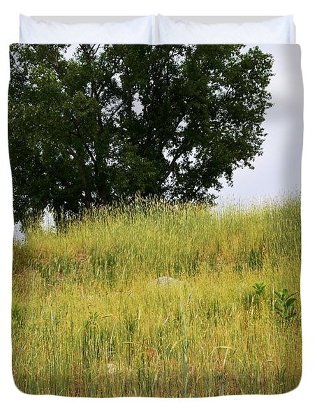 Tree On A Hill Duvet Cover by Sarah Holenstein
