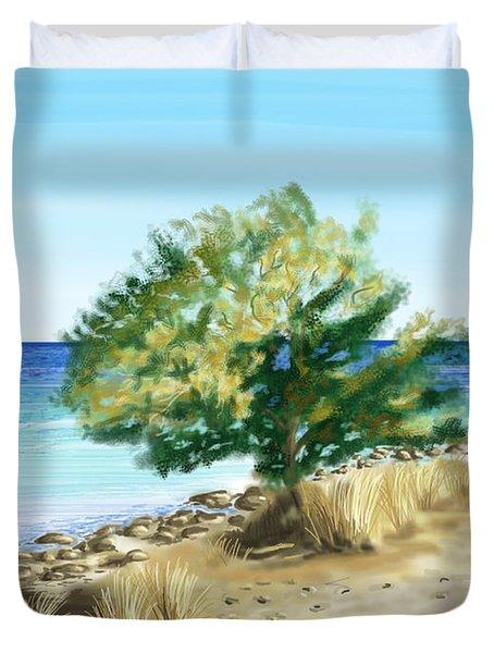 Tree on the beach Duvet Cover by Veronica Minozzi