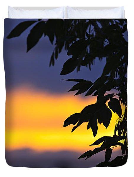 Tree silhouette over sunset Duvet Cover by Elena Elisseeva