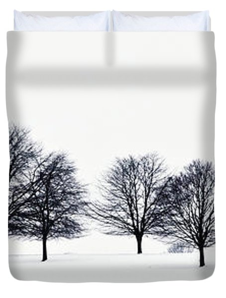 Trees In A Snowy Field In Chatsworth Duvet Cover by John Doornkamp