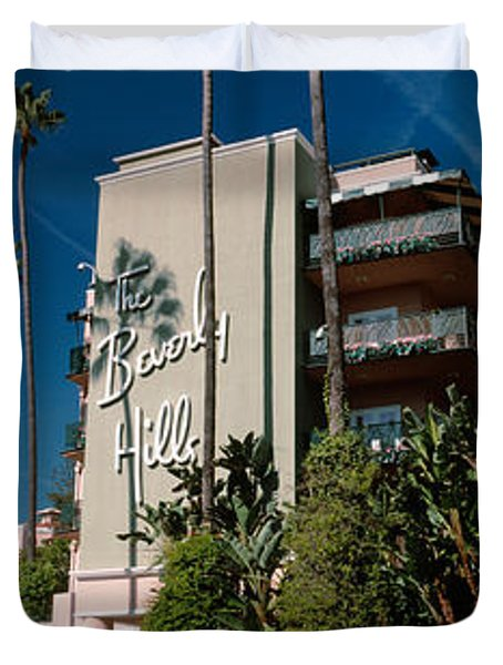 Trees In Front Of A Hotel, Beverly Duvet Cover by Panoramic Images