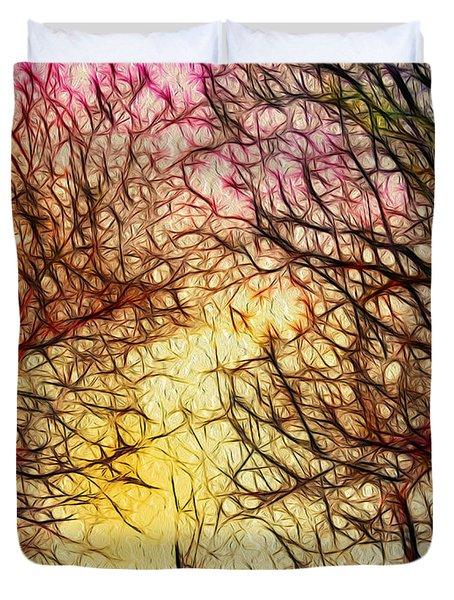 Trees of the Four Seasons Duvet Cover by Kaye Menner