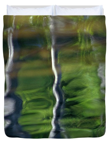 Trees Reflections On The River Duvet Cover by Heiko Koehrer-Wagner
