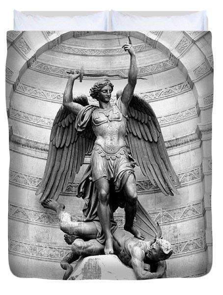 Triumphant Saint Michael Duvet Cover by Carol Groenen