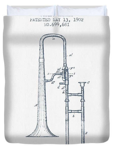 Trombone Patent From 1902 - Blue Ink Duvet Cover by Aged Pixel
