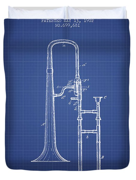 Trombone Patent From 1902 - Blueprint Duvet Cover by Aged Pixel