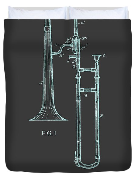 Trombone Patent From 1902 - Modern Gray Blue Duvet Cover by Aged Pixel