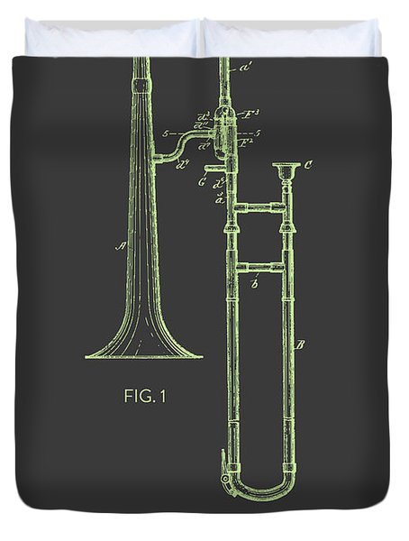 Trombone Patent From 1902 - Modern Gray Green Duvet Cover by Aged Pixel