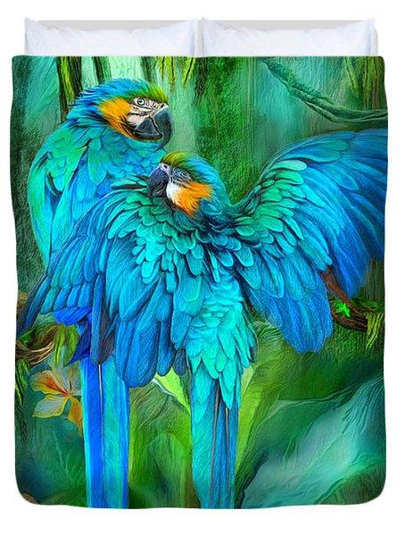 Tropic Spirits - Gold And Blue Macaws Duvet Cover by Carol Cavalaris