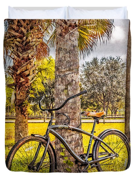 Tropical Bicycle Duvet Cover by Debra and Dave Vanderlaan