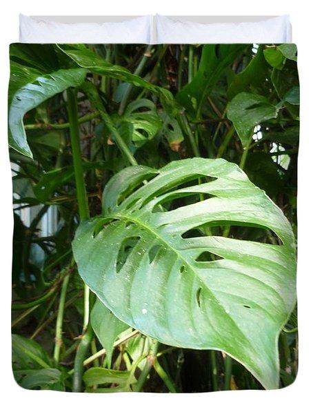 Tropical Green Foliage Duvet Cover by Lingfai Leung
