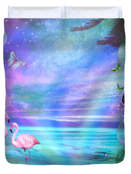 Tropical Moonlight Flamingos Duvet Cover by Alixandra Mullins