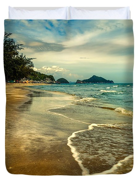 Tropical Waves Duvet Cover by Adrian Evans