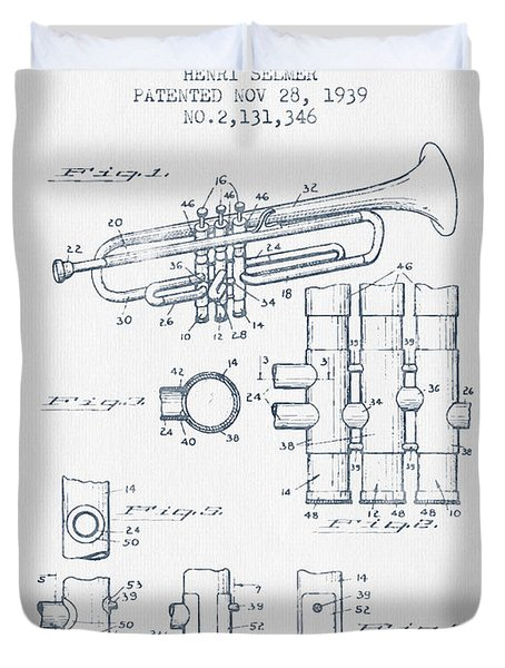 Trumpet Patent From 1939 - Blue Ink Duvet Cover by Aged Pixel
