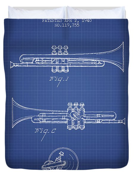 Trumpet Patent From 1940 - Blueprint Duvet Cover by Aged Pixel