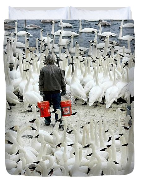 Trumpeter Swan Feeding Time Duvet Cover by Amanda Stadther