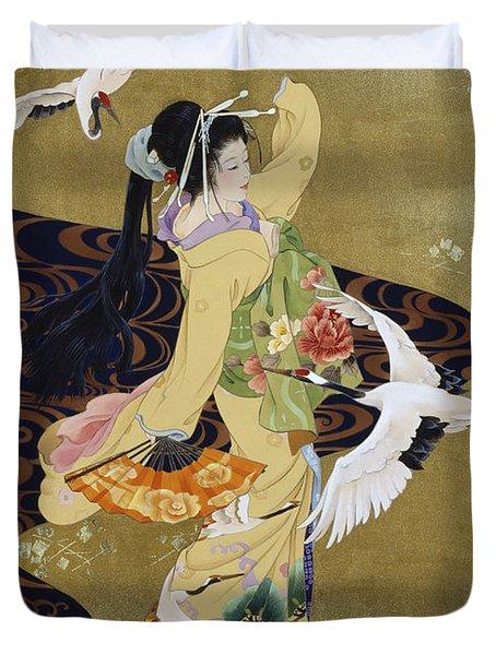 Tsuru No Mai Duvet Cover by Haruyo Morita