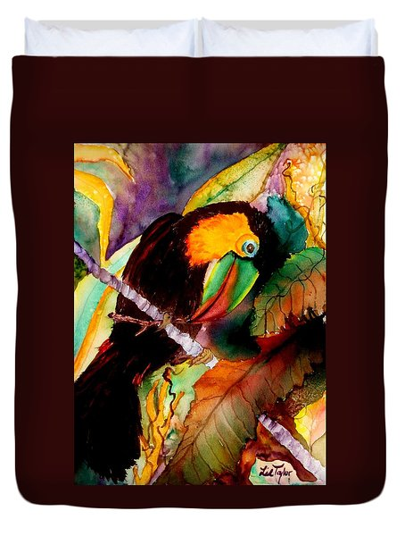 Tu Can Toucan Duvet Cover by Lil Taylor