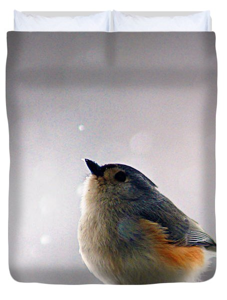 Tufted Titmouse Duvet Cover by Cricket Hackmann