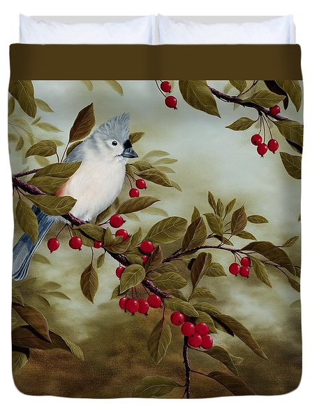 Tufted Titmouse Duvet Cover by Rick Bainbridge