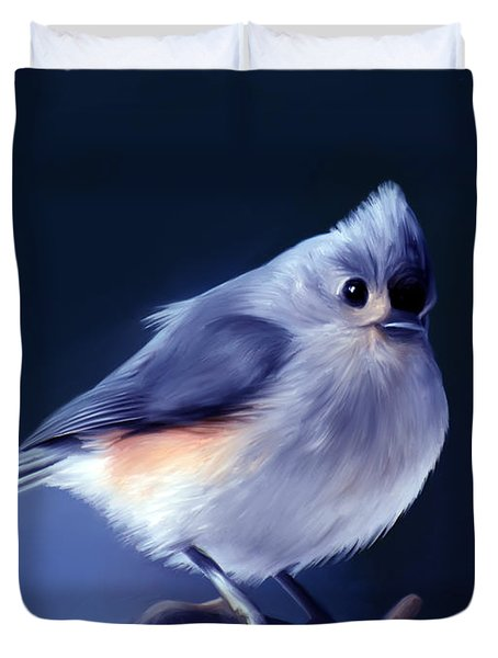 Tufty The Titmouse Duvet Cover by Pennie  McCracken