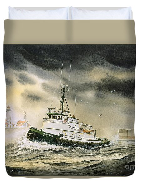 Tugboat Agnes Foss Duvet Cover by James Williamson