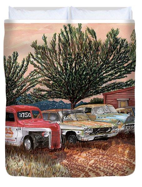 Tularosa Motors Duvet Cover by Jack Pumphrey