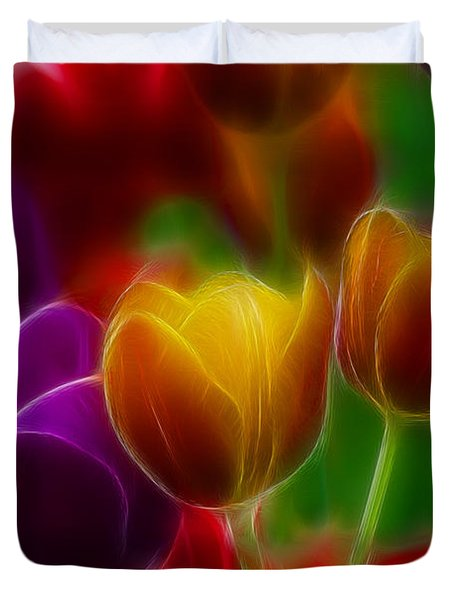 Tulips-7060-fractal Duvet Cover by Gary Gingrich Galleries